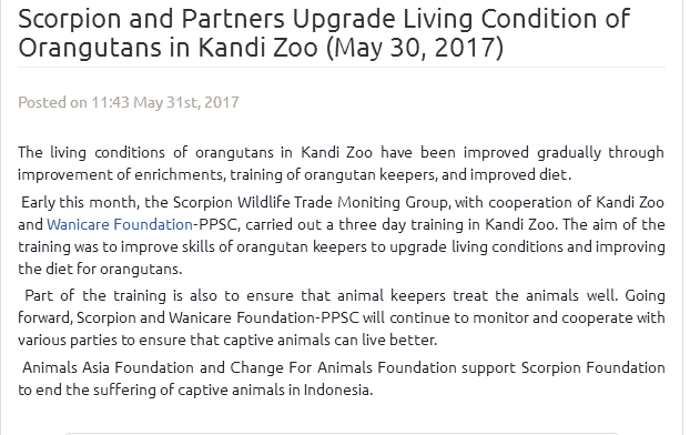 scorpion with animals asia and change for animals