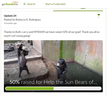 update24 with large letters 50 percent raised for help the sun bears of