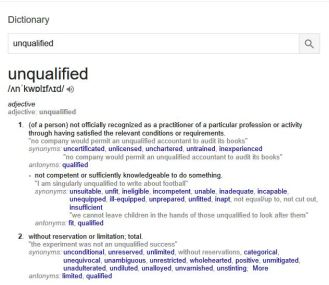 unqualified defintion