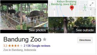 bandung zoo rated on google review lower than surabaya