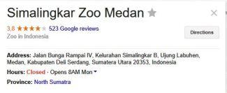 medan zoo google ratings