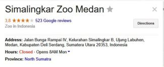 medan zoo google ratings