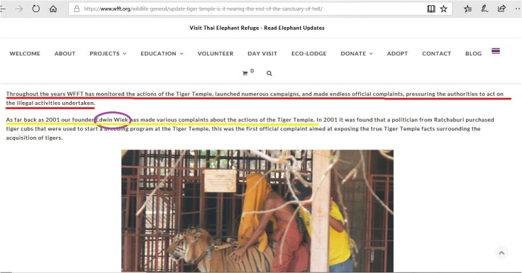 wiek has been exposing tiger temple since 2001 he alleges