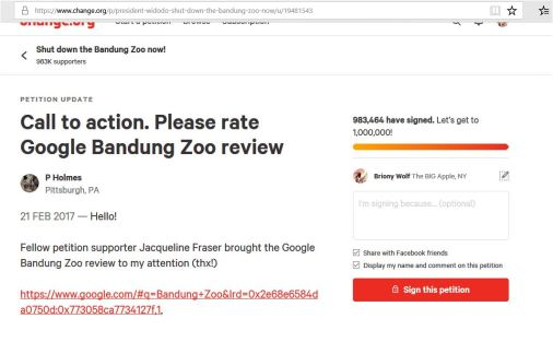 poo calling for bad reviews of bandung zoo on her petition site 1