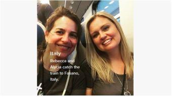 alycia and rat on train to puglia