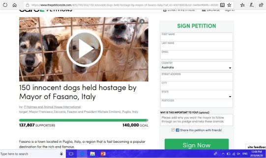 PETITION SITE 150 DOGS FASANO 1
