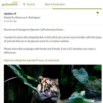 update 19 with a random picture of a tiger asking for donations again
