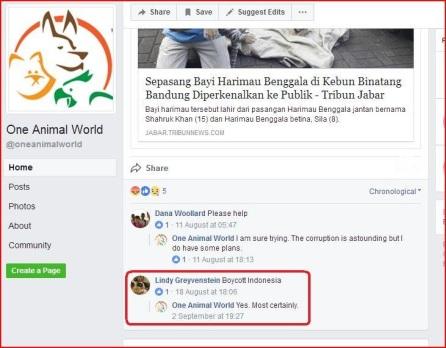 one animal world boycott indonesia