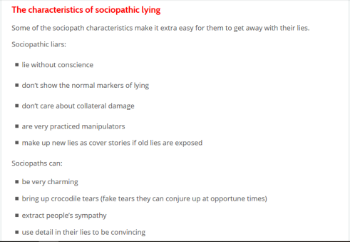 characteristics of lying sociopaths