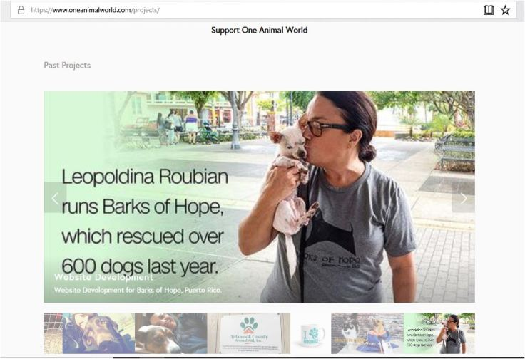 one animal world asking for donations because she developed a web page for barks of hope