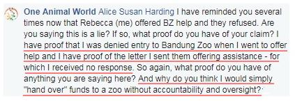 rat saying she wouldnt hand over funds to bz
