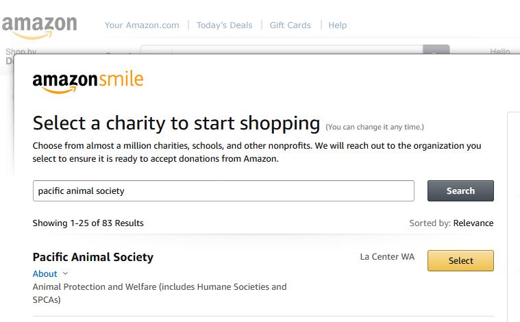 pacific animal society on amazon smile